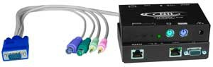 PS/2 KVM + two-way audio extender via CAT5, skew compensation, up to 1,000 feet (305 meters)