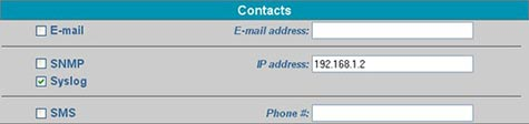Click 'Syslog' and enter an IP address to send syslog alerts to that user