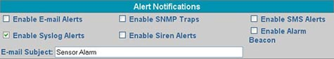 Click 'Enable Syslog Alerts' to send syslog alerts for that sensor