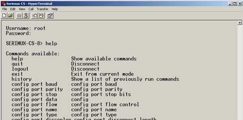 SERIMUX-CS Command Line Interface Commands List